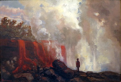 Man Watching Volcano Lava Falls by Charles Furneaux, 1889