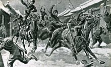 Black and white drawing of a regiment of Cossacks entering a village in Manchuria