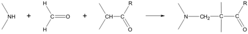 Scheme 1. Ammonia or an amine reacts with formaldehyde and an alpha acidic proton to a beta amino carbonyl compound