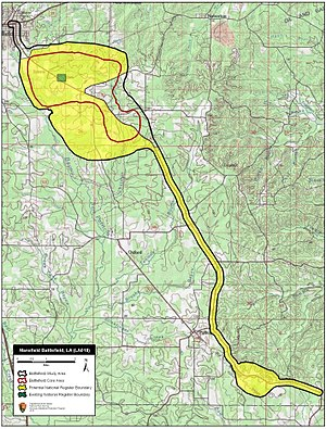 Battle of Mansfield - Map of Mansfield Battlefield core and study areas by the American Battlefield Protection Program.