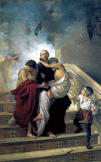 John of God - St. John of God saving the Sick from a Fire at the Royal Hospital by Manuel Gómez-Moreno González (1880)
