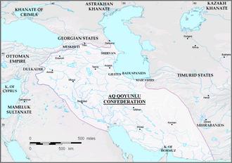 Uzun Hasan - The Aq Qoyunlu empire by the end of Uzun Hassan's reign in 1478