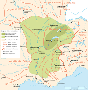 Kingdom of Burgundy - Kingdom of the Burgundians after their settlement in Savoy from 443.