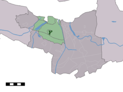 The town centre (dark green) and the statistical district (light green) of Hoek in the municipality of Terneuzen.