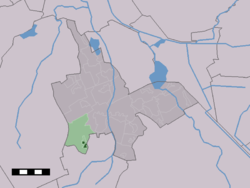 The village centre (dark green) and the statistical district (light green) of Zeijen in the municipality of Tynaarlo.