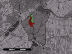 The town centre (red) and the statistical district (light green) of Zoeterwoude-Dorp in the municipality of Zoeterwoude.