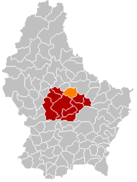 Map of Luxembourg with Nommern highlighted in orange, the district in dark grey, and the canton in dark red