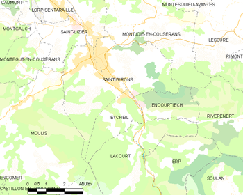 Map of the commune de Saint-Girons