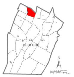 Map of Bedford County, Pennsylvania highlighting Kimmel Township