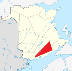 Location within New Brunswick.