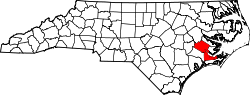 Map of North Carolina highlighting Craven County.svg