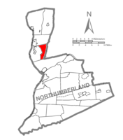 Map of Northumberland County, Pennsylvania highlighting East Chillisquaque Township