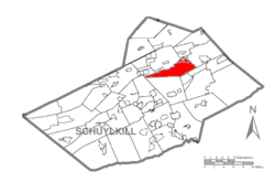 Map of Schuylkill County, Pennsylvania Highlighting Ryan Township