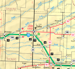 KDOT map of Thomas County (legend)