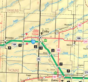 Colby, Kansas - Image: Map of Thomas Co, Ks, USA