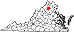 State map highlighting Rappahannock County