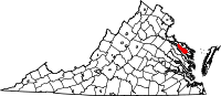 Locatie van Richmond County in Virginia