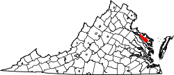 map of Virginia highlighting Richmond County