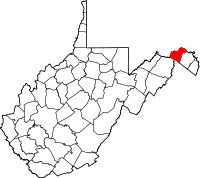 Locatie van Morgan County in West Virginia
