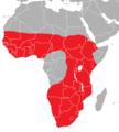 Mapa distribución oricteropo (Orycteropus afer).png