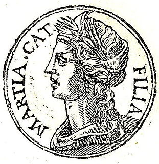 Marcia (wife of Cato) daughter of L. Philippus, consul in 38 BC, and wife of Cato the Younger