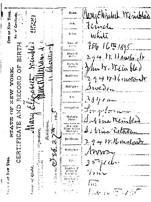 Birth certificate - Mary Elizabeth Winblad (1895-1987) birth certificate
