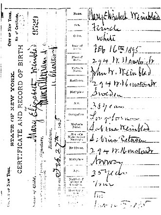 Birth certificate - Birth certificate of Mary Elizabeth Winblad (1895–1987)