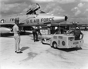 U.S. nuclear weapons in Japan - Mark 28 atomic bomb being transported to an F-100 by the 18th Tactical Fighter Wing on Okinawa