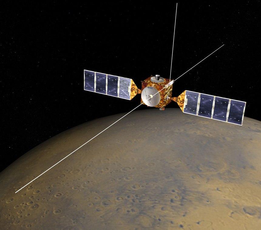 Mars Express illustration highlighting MARSIS antenna
