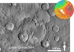 Comas Sola (crater) - Image of Comas Sola crater by THEMIS