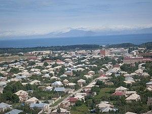 Martuni, Armenia - Martuni with the Lake Sevan in the background