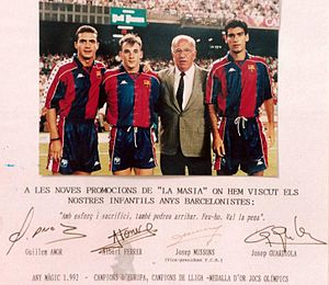 "La Masia - Guillermo Amor, Albert Ferrer, Josep Mussons (Barça Vice-president) and Pep Guardiola. This photo was displayed for many years at the entrance of La Masia dining room. Their signature, in Catalan language, encourages future young Barça players by saying ""With effort and sacrifice, you can also make it. Just do it, it is worth it!""."