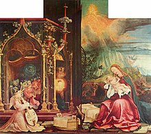 A panel from an altarpiece by Grünewald. On the right, the Virgin Mary gazes at the Christ Child while above her, in a sky blazing with light, God is seated on a throne surrounded by the Hosts of Heaven. To the left an orchestra of cherubim plays in a Gothic loggia.