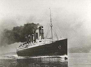 RMS Mauretania (1906) - Image: Mauretania Full speed ahead