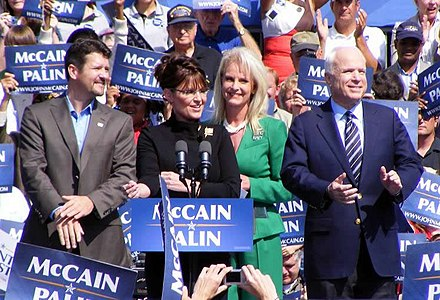 The Palins and McCains campaign in Fairfax, Virginia, following the 2008 Republican National Convention on September 10. McCainPalin1.jpg