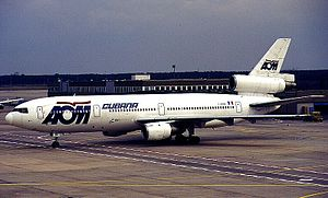 Cubana de Aviación Flight 1216 - A Cubana McDonnell Douglas DC-10-30 leased from AOM French Airlines, similar to the accident aircraft