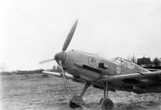 Jagdgeschwader 2 - A German Messerschmitt Bf 109E of 9/JG 2 Richthofen at Jever, Germany, in 1941. The emblem of the 9th Squadron is visible on the cowling, the emblem of the 2nd Fighter Wing is visible below the cockpit. JG 2 was based in France on the Channel coast at that time.