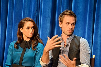 Meghan, Duchess of Sussex - Markle with co-star Patrick J. Adams at a panel discussion of Suits, Paley Center for Media, 2013
