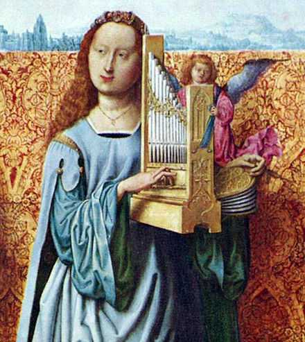 A painting of Saint Cecilia playing a portative. Her left hand can be seen operating the bellows. Meister des Bartholomaus 1501SteCecile.jpg