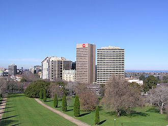 St Kilda Road, Melbourne - Melbourne St Kilda Road and Port Phillip Bay (seen from top of the War Memorial)