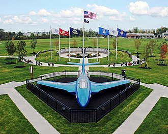 Tonawanda (town), New York - An F9F-6P Cougar sits in front of the Town of Tonawanda Veterans Memorial in Walter M. Kenney Field.