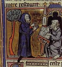 Merlín, ilustrado en una miniatura francesa del siglo XIII.