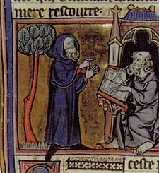 Merlin dictating his poems, as illustrated in a French book from the 13th century