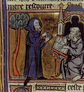Merlin (poem) - Merlin dictates the story of Arthur and his knights for Blase to write down in a 13th-century illustration for the prose version, Estoire de Merlin