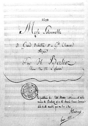 Messe solennelle (Berlioz) - Title page of the autograph score