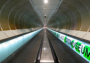Wilhelminaplein metro station - Moving walkways between station and theater