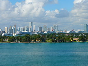 PortMiami - Miami's port as seen from Miami Beach, Florida in December 2007, with seven cruise ships docked