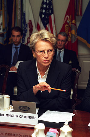 Michèle Alliot-Marie - French Minister of Defense Michèle Alliot-Marie meets with US Secretary of Defense Donald H. Rumsfeld in The Pentagon on 17 October 2002. Alliot-Marie and Rumsfeld are meeting to discuss defense issues of mutual interest.