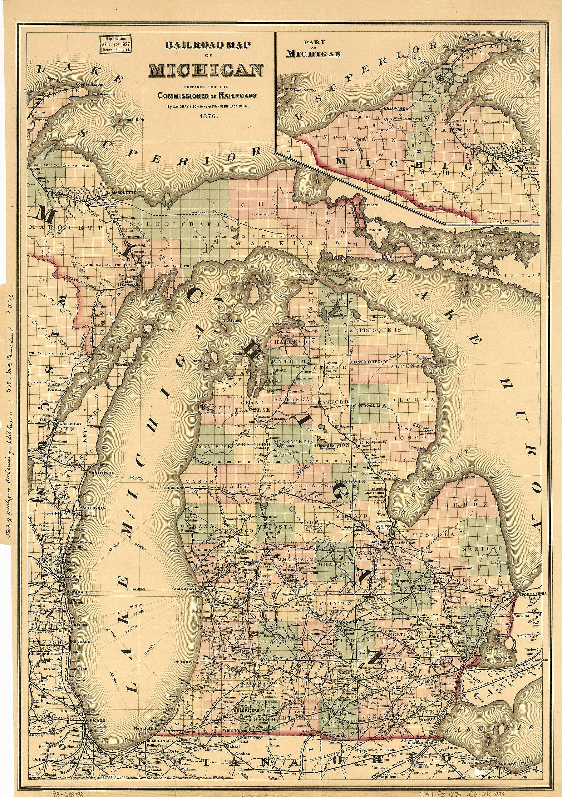 By 1876, the Grand Rapids and Indiana Railroad had built a line north to Petoskey. Petoskey became the county seat of Emmet County in 1902.[9]