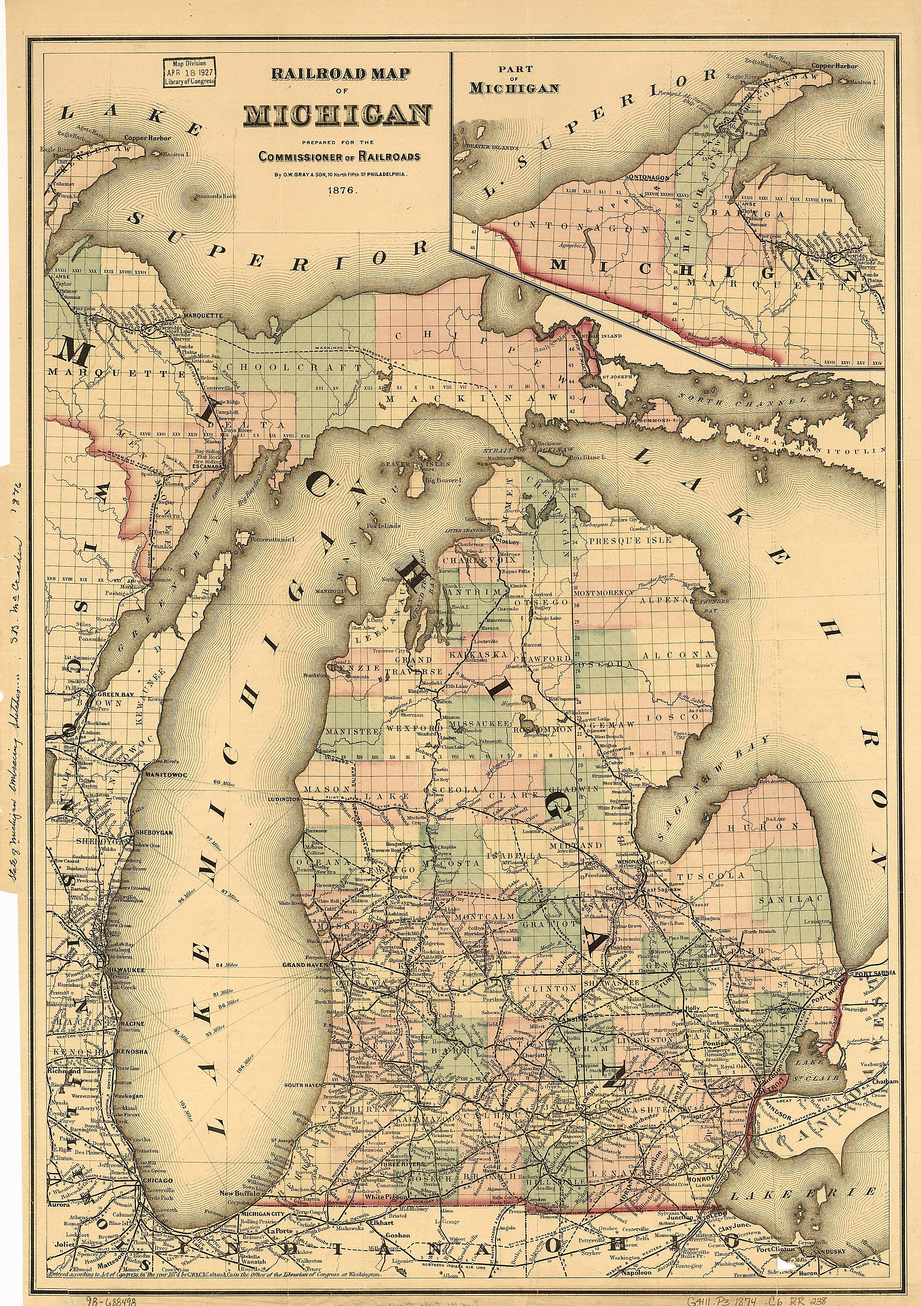 This 1876 map shows Cheboygan County between Emmet County and Presque Isle County.